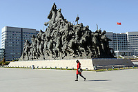 Huge bronze scuptures in front of the government buildings in Kangbashi district of the Chinese city of Ordos, Inner Mongolia. 12-May-2011