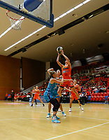 29th November 2019; Bendat Basketball Centre, Perth, Western Australia, Australia; Womens National Basketball League Australia, Perth Lynx versus Southside Flyers; Katie Ebzery of the Perth Lynx takes a jumpshot over Rebecca Cole of the Southside Flyers - Editorial Use