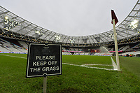 Keep of the grass sign during West Ham United vs Arsenal, Premier League Football at The London Stadium on 12th January 2019