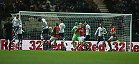 Preston North End's Josh Earl and Alan Browne deny Middlesbrough's Jordan Hugill a goalscoring chance<br /> <br /> Photographer Stephen White/CameraSport<br /> <br /> The EFL Sky Bet Championship - Preston North End v Middlesbrough - Tuesday 27th November 2018 - Deepdale Stadium - Preston<br /> <br /> World Copyright © 2018 CameraSport. All rights reserved. 43 Linden Ave. Countesthorpe. Leicester. England. LE8 5PG - Tel: +44 (0) 116 277 4147 - admin@camerasport.com - www.camerasport.com