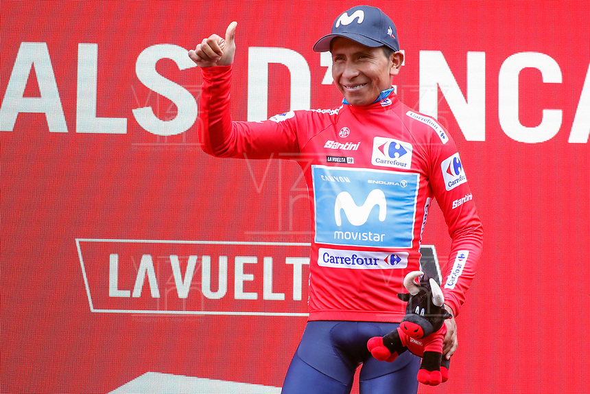 ESPAÑA, 01-09-2019: Nairo Quintana (COL - MOVISTAR) celebra con maillot rojo líder después de la etapa 9, hoy, 01 de septiembre de 2019, que se corrió entre Andorra la Vella y Cortals d'Encamp con una distancia de 94,4 km como parte de La Vuelta a España 2019 que se disputa entre el 24/08 y el 15/09/2019 en territorio español. / Nairo Quintana (COL - MOVISTAR) celebrates with the red leader jersey after the stage 9 today, September 01, 2019, from Andorra la Vella to Cortals d'Encamp with a distance of 94,4 km as part of Tour of Spain 2019 which takes place between 08/24 and 09/15/2019 in Spain.  Photo: VizzorImage / Luis Angel Gomez / ASO<br /> VizzorImage PROVIDES THE ACCESS TO THIS PHOTOGRAPH ONLY AS A PRESS AND EDITORIAL SERVICE AND NOT IS THE OWNER OF COPYRIGHT; ANOTHER USE HAVE ADDITIONAL PERMITS AND IS  REPONSABILITY OF THE END USER