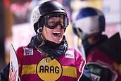 2nd December 2017, Moenchengladbach, Germany;  1st-placed Carla Somaini (Switzerland) laughing at the Big Air women's final of the Snowboard World Cup at the SparkassenPark in Moenchengladbach, Germany, 2 December 2017.