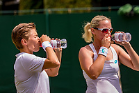 London, England, 8 July, 2019, Tennis,  Wimbledon, women's doubles Demi Schuurs (NED) and Anna-Lena Groenefeld (GER) (R)<br /> Photo: Henk Koster/tennisimages.com