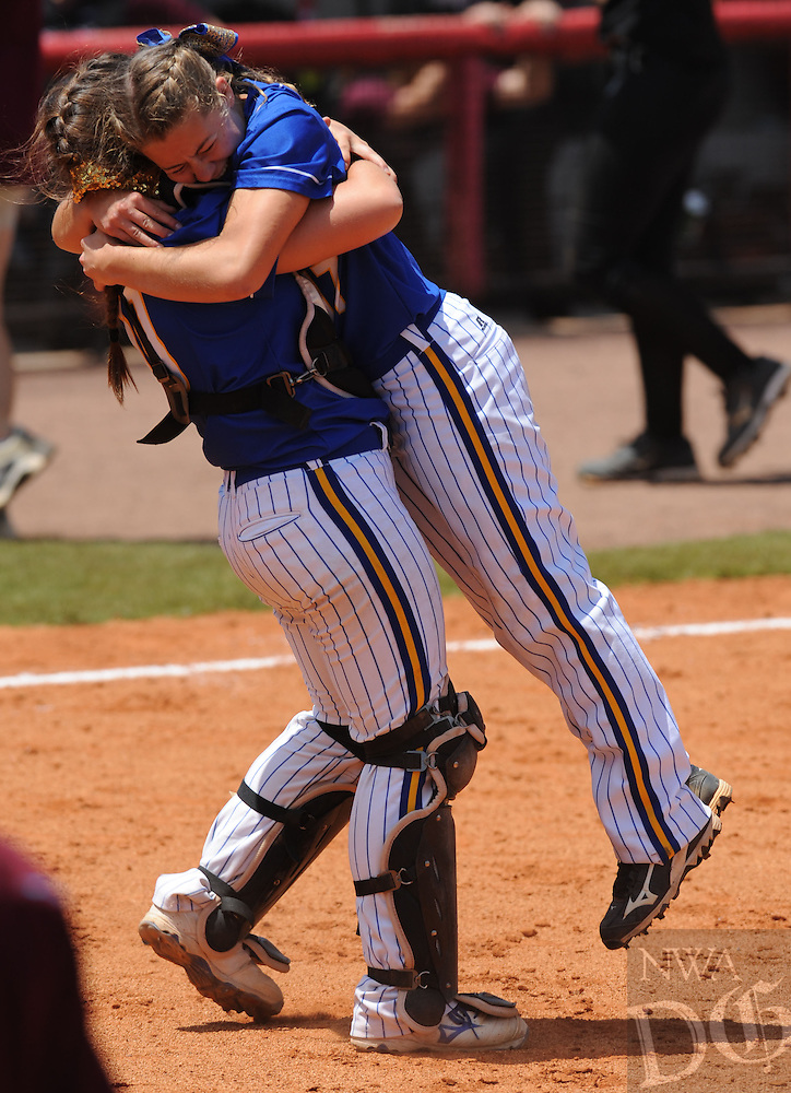 NWA Democrat-Gazette/ANDY SHUPE<br /> Sheridan starter Reagan Martin (right) and catcher Corbin Talbert celebrate the final out against Benton Saturday, May 21, 2016, during the Class 6A state championship game at Bogle Park in Fayetteville. Visit nwadg.com/photos to see more photographs from the game.