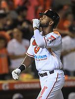 Home run de Dominic Larun Bown  Naranjeros  en la segunda entrada, durante la apertura de la temporada de beisbol de la Liga Mexicana del Pacifico 2017 2018 con el partido entre Naranjeros vs Yaquis. 11 octubre2017 . <br /> (Foto: Luis Gutierrez /NortePhoto.com)