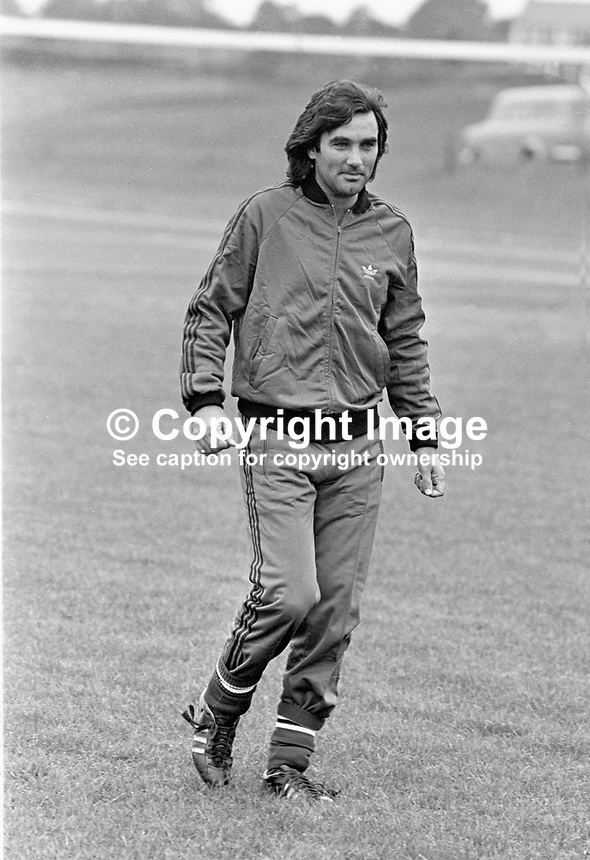 Belfast-born footballer George Best during a training session prior to the N Ireland International team playing Iceland at Windsor Park, Belfast.19770920182c<br /> Copyright Image from Victor Patterson, 54 Dorchester Park, Belfast, UK, BT9 6RJ<br /> <br /> t1: +44 28 9066 1296 (from Rep of Ireland 048 9066 1296)<br /> t2: +44 28 9002 2446 (from Rep of Ireland 048 9002 2446)<br /> m: +44 7802 353836<br /> <br /> e1: victorpatterson@me.com<br /> e2: victorpatterson@gmail.com<br /> <br /> The use of my copyright images is subject to my Terms &amp; Conditions.<br /> <br /> It is IMPORTANT that you familiarise yourself with them. They are available on my website at www.victorpatterson.com.<br /> <br /> None of my copyright images may be used on a website unless they are visibly watermarked, i.e. &copy; Victor Patterson within the body of the visible image. Metadata denoting my copyright must NOT be deleted. <br /> <br /> Web use (maximum size - 400 kb) is extra at currently recommended NUJ rates.