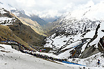 The race rides through stunning mountain scenery near the finish of Stage 13 of the 2019 Giro d'Italia, running 196km from Pinerolo to Ceresole Reale (Lago Serrù), Italy. 24th May 2019<br /> Picture: Fabio Ferrari/LaPresse | Cyclefile<br /> <br /> All photos usage must carry mandatory copyright credit (© Cyclefile | Fabio Ferrari/LaPresse)