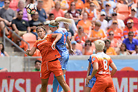 Houston, TX - Saturday April 15, 2017: Sarah Hagen and Julie Ertz go up for a header during a regular season National Women's Soccer League (NWSL) match won by the Houston Dash 2-0 over the Chicago Red Stars at BBVA Compass Stadium.