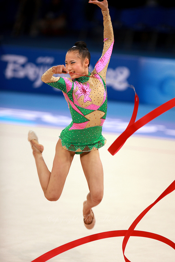 August 22, 2008; Beijing, China; Rhythmic gymnast Hongyang Li of China performs with ribbon on way placing 13th in qualifying round at 2008 Beijing Olympics. Copyright 2008 Tom Theobald