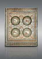 Picture of a Roman mosaics design depicting the Four Seasons, from the ancient Roman city of Thysdrus. 3rd century AD, House in Jiliani Guirat area. El Djem Archaeological Museum, El Djem, Tunisia.