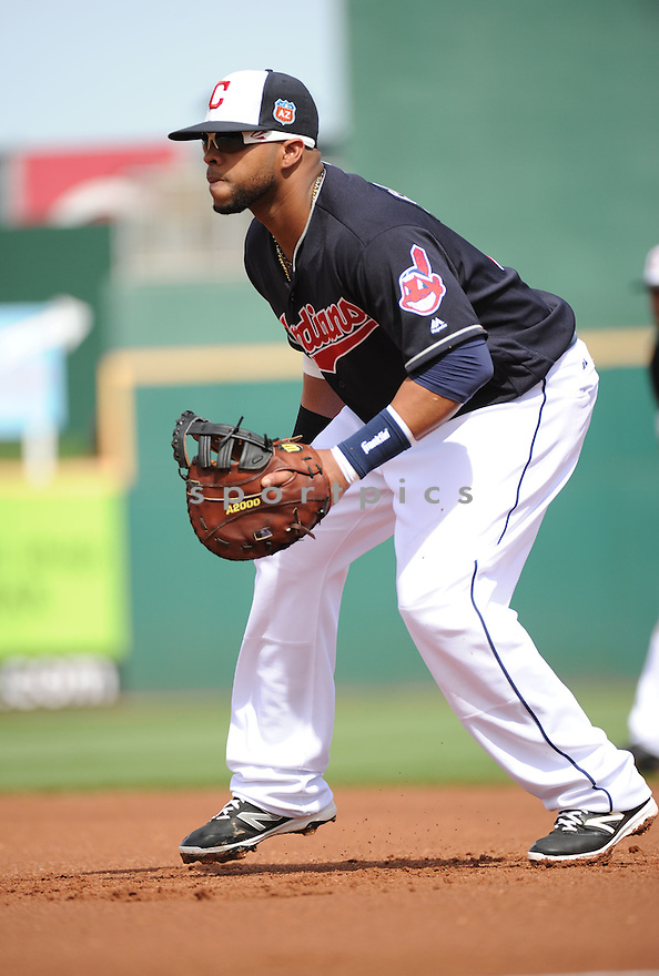 Cleveland Indians Carlos Santana (41) during a pre-season game against the Cincinnati Reds on March 1, 2016 at Goodyear Ballpark in Goodyear, AZ. The Reds beat the Indians 6-5.