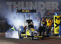 Jun 17, 2016; Bristol, TN, USA; NHRA top fuel driver Leah Pritchett during qualifying for the Thunder Valley Nationals at Bristol Dragway. Mandatory Credit: Mark J. Rebilas-USA TODAY Sports