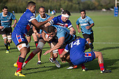 Peter Roache charges in to Todd Petrie and Whairoa Rangiwai. Counties Manukau Premier Club Rugby game between Ardmore Marist and Weymouth, played at Bruce Pulman Park on May 14th 2016. Ardmore Marist won the game 43 - 7 after leading 17 - 0 at halftime. Photo by Richard Spranger.
