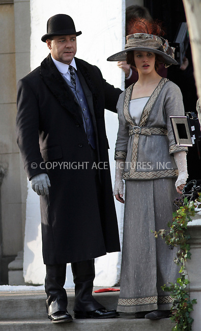 WWW.ACEPIXS.COM....December 4 2012, New York City....Actors Russell Crowe and Jessica Findlay Brown were on the set of the new movie 'Winter's Tale' on December 4 2012 in New York City......By Line: Zelig Shaul/ACE Pictures......ACE Pictures, Inc...tel: 646 769 0430..Email: info@acepixs.com..www.acepixs.com