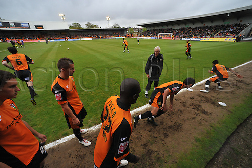 8.5.2010. Barnet Football Ground. Barnet players warm up before the game. Barnet   1 - 0   Rochdale. Albert Jarrett scored a last-gasp winner for Barnet as the Bees secured their Football League survival.