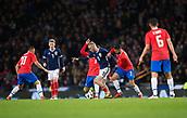 23rd March 2018, Hampden Park, Glasgow, Scotland; International Football Friendly, Scotland versus Costa Rica; Oli McBurnie of Scotland holds off Giancarlo Gonzalez of Costa Rica