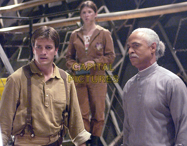 NATHAN FILLION, JEWELL STAITE & RON GLASS.in Firefly.Filmstill - Editorial Use Only.Ref: FB.www.capitalpictures.com.sales@capitalpictures.com.Supplied By Capital Pictures.
