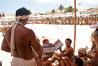 Canoeists showing off their awards at Playa del Carmen or Xamanha, Sacred Mayan Journey 2011 event, Riviera Maya, Quintana Roo, Mexico.