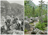 KLGO Photo Station CH-05: Long Hill, View north of the Chilkoot Trail on Long Hill one mile north of Sheep Camp, Klondike Gold Rush National Historical Park, Alaska, United States. Left photo was take in 1897 by Frank La Roche. Right photo was taken August 5, 2014 by Ronald D. Karpilo Jr. (Karpilo #20140805-00078).