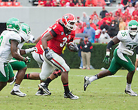 The Georgia Bulldogs played North Texas Mean Green at Sanford Stadium.  After North Texas tied the game at 21 early in the second half, the Georgia Bulldogs went on to score 24 unanswered points to win 45-21.  Georgia Bulldogs running back Todd Gurley (3)