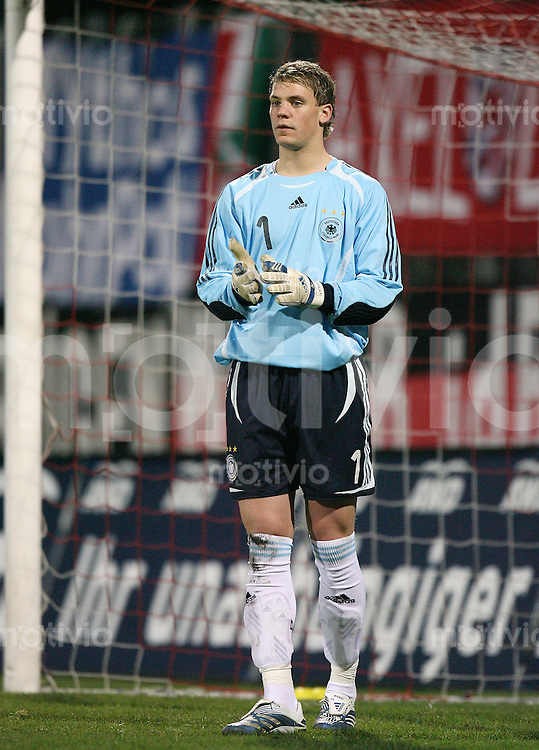 Fussball  International    U21 LAENDERSPIEL  Deutschland - Tschechische Republik    Torwart Manuel NEUER (GER)