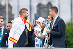 Real Madrid Sergio Ramos and Cristiano Ronaldo during the celebration of the Thirteen Champions League at Cibeles Fountain in Madrid, Spain. May 27, 2018. (ALTERPHOTOS/Borja B.Hojas)