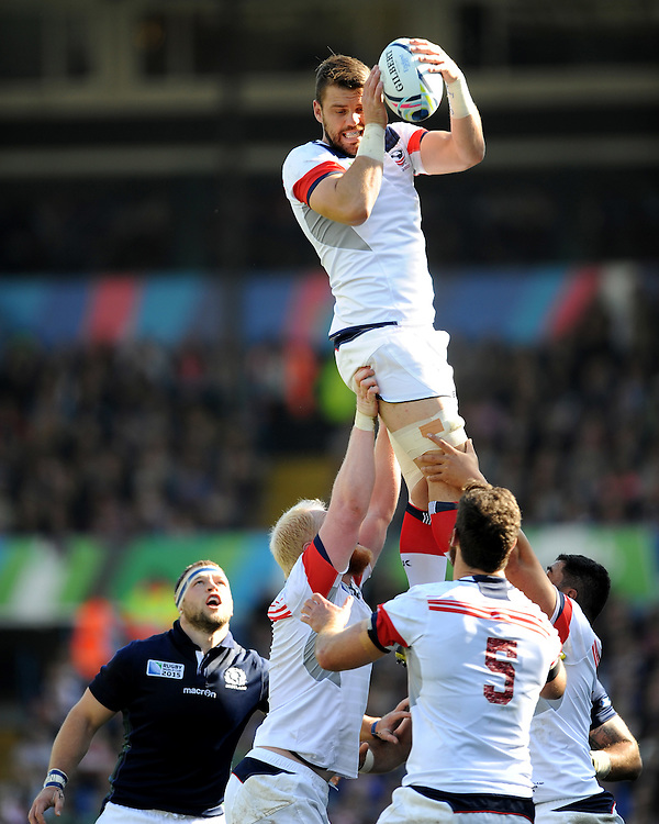 Al McFarland of USA secures the lineout ball during Match 18 of the Rugby World Cup 2015 between Scotland and USA - 27/09/2015 - Elland Road, Leeds<br /> Mandatory Credit: Rob Munro/Stewart Communications