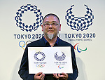 April 25, 2016, Tokyo, Japan - Designer Asao Tokolo proudly shows his winning designs, now the official emblems for the 2020 Tokyo Olympics and Paralympics, in Tokyo on Monday, April 25, 2016.  (Photo by Natsuki Sakai/AFLO) AYF -mis-