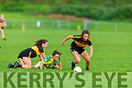 Crokes Emma Dineen gains possession as John Mitchels Ashleagh Murphy collides with Dr Crokes Siobhan Burns in the Kerry Ladies Junior Football Championship