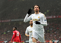 Pictured: Michu of Swansea celebrating his equaliser. Sunday 12 May 2013<br /> Re: Barclay's Premier League, Manchester City FC v Swansea City FC at the Old Trafford Stadium, Manchester.