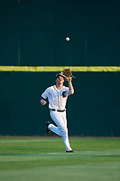 Connecticut Tigers center fielder Clark Brinkman (10) tracks a fly ball during a game against the Lowell Spinners on August 26, 2018 at Dodd Stadium in Norwich, Connecticut.  Connecticut defeated Lowell 11-3.  (Mike Janes/Four Seam Images)