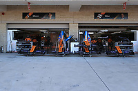 31st October 2019; Circuit of the Americas, Austin, Texas, United States of America; F1 United States Grand Prix, team arrival day; McLaren garage busy with mechanics building the cars - Editorial Use