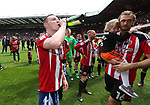 Sheffield United's Caolan Lavery celebrates during the League One match at Bramall Lane, Sheffield. Picture date: April 30th, 2017. Pic David Klein/Sportimage