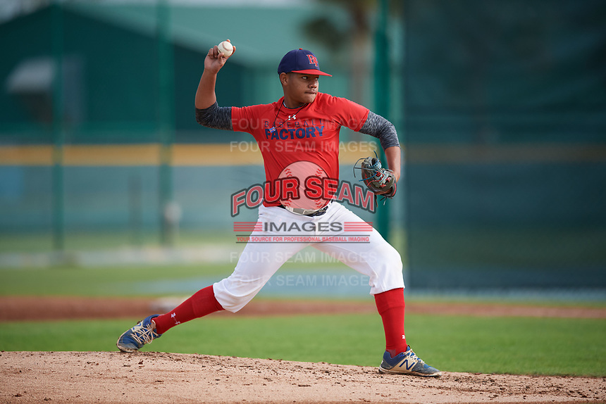 Rafael Mejia Ulerio (57), from Beltsville, Maryland, while playing for the Red Sox during the Baseball Factory Pirate City Christmas Camp & Tournament on December 30, 2017 at Pirate City in Bradenton, Florida.  (Mike Janes/Four Seam Images)