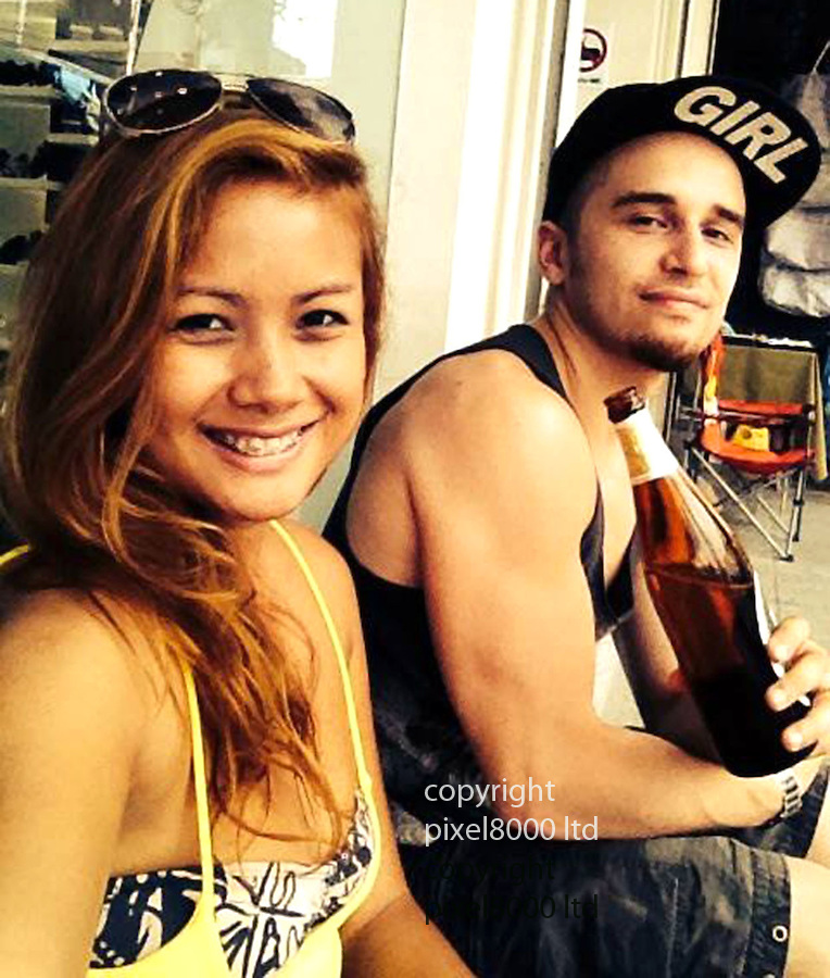 pic shows: Naami Keyghobadi with his wife, Chloe San Keyghobadi<br /> <br /> Mr Keyghobadi died after falling from a window and four ladyboys have been detained in connection with his death in Pattaya City, Thailand<br /> <br /> <br /> <br /> <br /> Pic supplied by Pixel 8000 Ltd