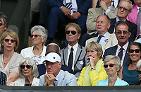 Sir Cliff Richard watches the action on centre court<br /> <br /> Photographer Rob Newell/CameraSport<br /> <br /> Wimbledon Lawn Tennis Championships - Day 11 - Friday 12th July 2019 -  All England Lawn Tennis and Croquet Club - Wimbledon - London - England<br /> <br /> World Copyright © 2019 CameraSport. All rights reserved. 43 Linden Ave. Countesthorpe. Leicester. England. LE8 5PG - Tel: +44 (0) 116 277 4147 - admin@camerasport.com - www.camerasport.com