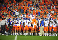 Jan. 4, 2010; Glendale, AZ, USA; Boise State Broncos players huddle prior to the game against the TCU Horned Frogs in the 2010 Fiesta Bowl at University of Phoenix Stadium. Mandatory Credit: Mark J. Rebilas-