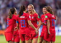 LYON,  - JULY 2: Alex Morgan #13 celebrates with teammate Lindsey Horan #9 during a game between England and USWNT at Stade de Lyon on July 2, 2019 in Lyon, France.