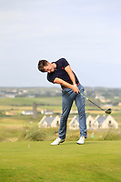 Richard Knightly (The Royal Dublin) on the 2nd tee during the Quarter Finals of The South of Ireland in Lahinch Golf Club on Tuesday 29th July 2014.<br /> Picture:  Thos Caffrey / www.golffile.ie