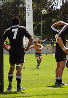 Eddie Bredenhahn kicks a penalty during the International rugby match between New Zealand Secondary Schools and Suncorp Australia Secondary Schools at Yarrows Stadium, New Plymouth, New Zealand on Friday, 10 October 2008. Photo: Dave Lintott / lintottphoto.co.nz