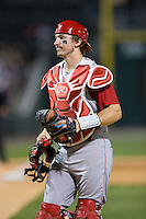 North Carolina State Wolfpack catcher Andrew Knizner (11) on defense against the Charlotte 49ers at BB&T Ballpark on March 31, 2015 in Charlotte, North Carolina.  The Wolfpack defeated the 49ers 10-6.  (Brian Westerholt/Four Seam Images)