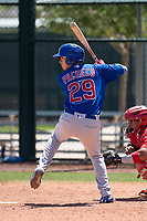 Chicago Cubs left fielder Carlos Pacheco (29) at bat during an Extended Spring Training game against the Los Angeles Angels at Sloan Park on April 14, 2018 in Mesa, Arizona. (Zachary Lucy/Four Seam Images)