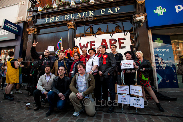 London, 18/04/2015. Today, a protest was held against the closure of the historic &quot;The Black Cap&quot; pub in Camden.  From the organisers Facebook page: &lt;&lt;A Protest against the closure of the Black Cap Pub last Sunday in order to end a 50 years LGBTQI association after the venue was listed as Asset of Community value by Camden LGBT group, four days earlier&gt;&gt;.<br /> <br /> For more information please click here: http://on.fb.me/1ELda9P