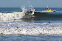Surfing Waves in the Pacific Ocean of Southern California