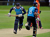 Cricket - 2nd One Day International - Scotland V The Netherlands at Mannofield - Aberdeen - Scotland's Aberdeen-born batting pairing Josh Davey (Middlesex CCC) and Kyle Coetzer (Durham CCC) making runs between rain showers - Picture by Donald MacLeod - 29.6.11 - 07702 319 738 - www.donald-macleod.com