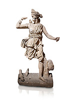 Roman statue of Hunting Artemis .Marble. Perge. 2nd century AD. Inv no .Antalya Archaeology Museum; Turkey. Against a white background.
