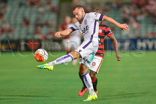 26.02.2016. Pirtek Stadium, Parramatta, Australia. Hyundai A-League. Perth defender Marc Warren clears the ball. Western Sydney Wanderers versus Perth Glory.