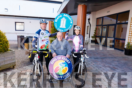 Baile Mhuire Day Care Centre launch their participation in the Ring of Kerry Charity Cycle.<br /> L-r, Denis Walsh, Michael McCarthy and Kathleen Jordan.