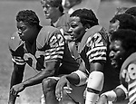 San Francisco 49ers training camp August 3, 1982 at Sierra College, Rocklin, California.  San Francisco 49ers defensive back Dwight Hicks (22) and defensive back Ronnie Lott (42).