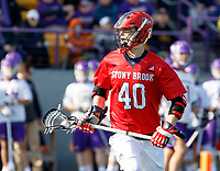 UAlbany Men's Lacrosse defeats Stony Brook on March 31 at Casey Stadium.  Cory VanGinhoven (#40).